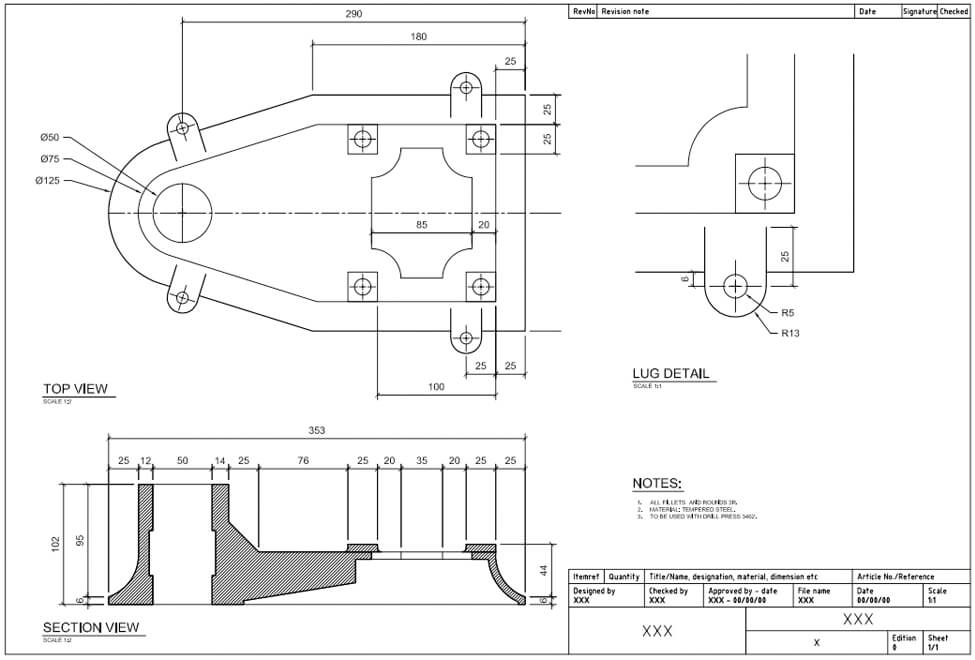 AutoCad (for Mechanical) – Mechanical Detail drawing