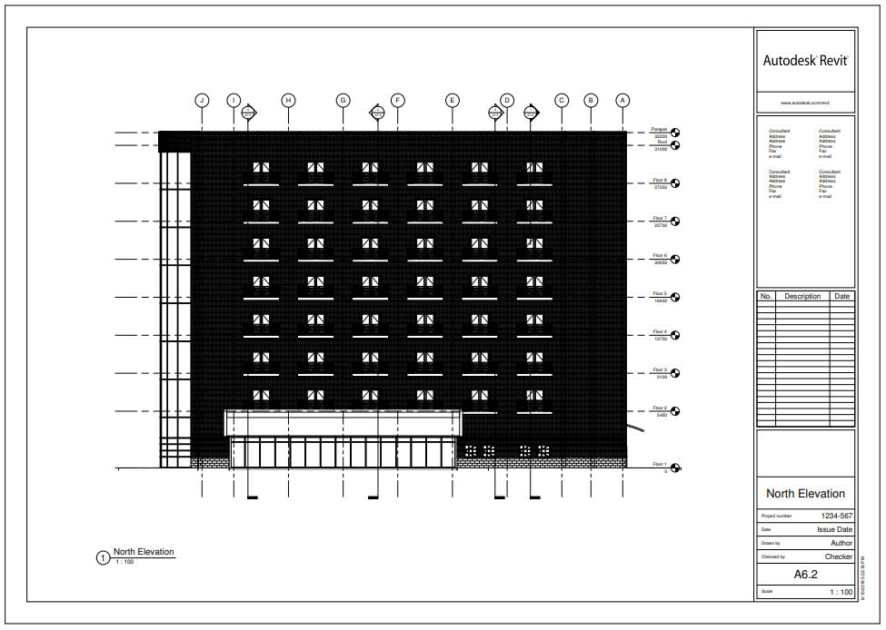 Building Elevation – Architectural Building Elevation with Datum Elements