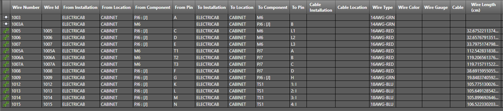 show connection details and wire length